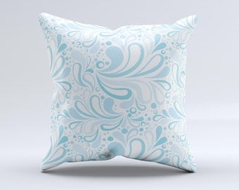 The Light Blue Droplet Sprout Pattern ink-Fuzed Decorative Throw Pillow