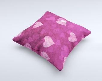 The Purple and Pink Layered Hearts ink-Fuzed Decorative Throw Pillow