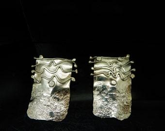 Vintage Sterling Silver/925 Modernist Design Rectangular Stud Earrings