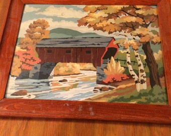 Vintage Paint by Number of an Autumn Covered Bridge