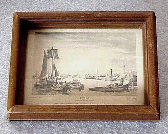 Antique Miniature 1938 Original Hand Colored Etching by W.J.BENNETT of the Boston Harbor