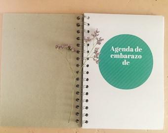 Daily agenda of pregnancy, baby, baby diary agenda, custom cover.