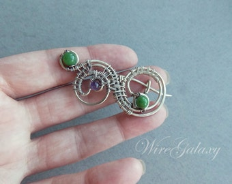 Brooch Spiral Chrysoprase Amethyst Shawl pin Wire wrapped Gemstone jewelry OOAK  Romantic gift Gift for her Wire brooch