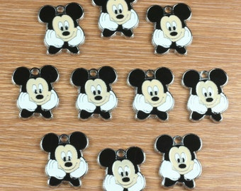 10PCS Mickey Mouse Enamel Metal Charms Pendants Jewelry Making Crafts Boys Girls Birthday Party Favors Gifts DIY