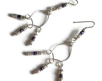 Boho Chandelier Earrings, Boho Wire Wrapped Earrings, Boho Earrings, Silver & Purple Chandelier Earrings