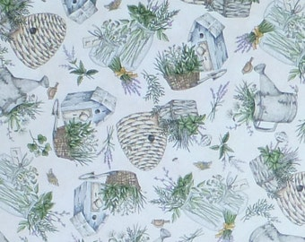 Thyme With Friends~Tossed Herbs on Natural Cotton Fabric, Maywood Studio 8333E,Fast Shipping, F608
