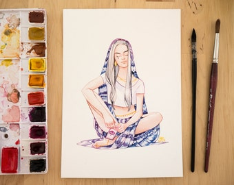Original watercolor illustration - Divination witch