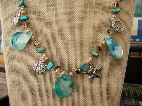 Shell Necklace Set, Nautical Charm Necklace Set, Beach Charm Necklace Set, Marine Beaded Necklace, #88