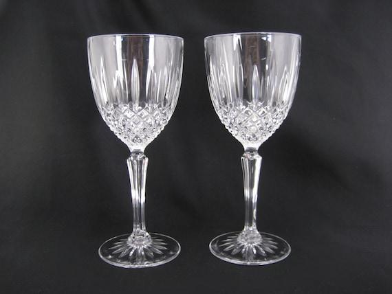 Crystal Glass Wine Glasses Pair Set Of 2 Vintage Toasting