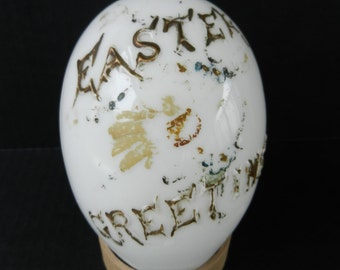 Victorian Milk Glass Easter Egg, Antique Easter Decoration