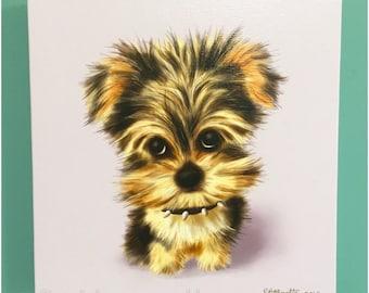 Canvas Print Mini Yorkshire Terrier Dog Illustration Art