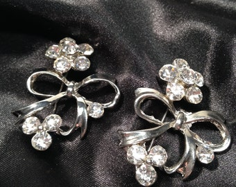 Pair of Vintage Brooches, Rhinestone Flower with Bow, Silver Tone Matching Brooches, Beautiful Clear Multi-Faceted Stones.
