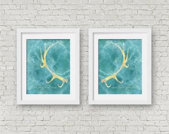 Antler Wall Art Set Of 2 Prints Deer Modern Teal Gold