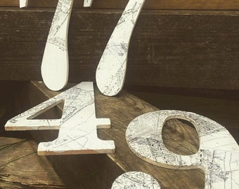 House Numbers Wooden Map Signs