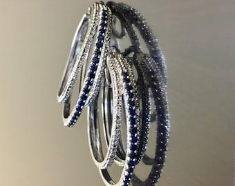 Blue Sapphire Earrings - Diamond Sapphire Hoop Earrings - Sapphire Diamond Earrings - Sterling Silver Hoop Earrings - Sapphire Hoops
