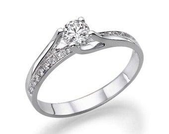 1 CT Halo Diamond Engagement Ring Platinum Moissanite F SI1 Model JR-134