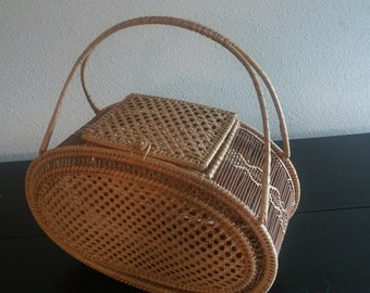 Vintage 1970s Bamboo Straw Basket Purse Summer Purse 70s Purse Handbag