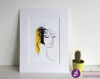 fashion illustration, abstract woman print IMAGINE, modern girl portrait, modern face art print, fashion nursery, asbtract girl art
