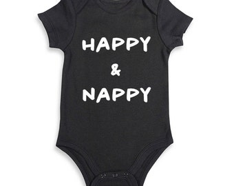 Happy and Nappy Baby Black Embroidered Bodysuit