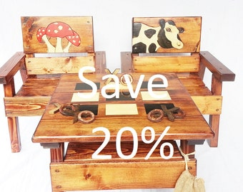 Kids Game Table and Chair Set, Boy/Girl, Childrens Wood Furniture, Mix & Match Many Options, Painted and Engraved Folk Art, Indoor/Outdoor