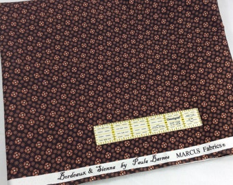 Flawed Remnant Marcus Reproduction 1800's Cotton Fabric Bordeaux & Sienna 0738
