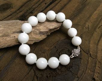 Chunky White Beaded Bracelet, Summer Jewelry, Pure White Jewelry