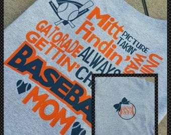 Monogrammed Baseball Mom T-Shirt / Baseball Mom Shirt