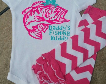 Baby Girl's Fishing Shirt Gift Set / Daddy's Fishing Buddy Shirt Set