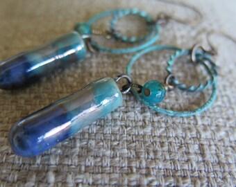blue earrings, ocean jasper earrings, tuquoise earrings, aqua earrings, boho earrings, unique earrings, long earrings, rustic earrings, gift