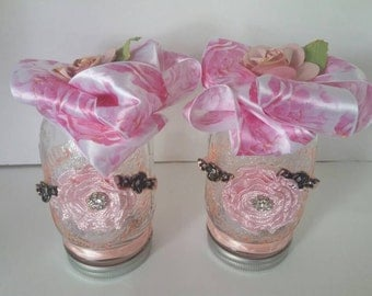 Flameless mason jar candle with rose motif. 1 each.