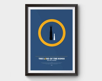 """The Two Towers - Lord of The Rings Poster: 12x16"""" (A3) LOTR print, poster, movie poster, gollum, LOTR, minimal, hobbit, geeky"""