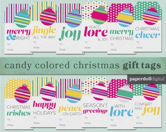 """Candy Colored Christmas Printable Gift Tags - Instant Download - 12 Tags - 2""""x3.5"""""""
