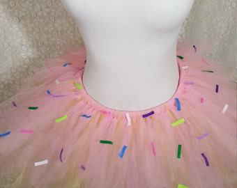 Child Donut Tutu, Pink Sprinkled Donut Tutu, Donut Photo Prop, Donut Costume, Doughnut Tutu, Pink Cupcake Tutu, Sprinkled Tutu, Cake Smash