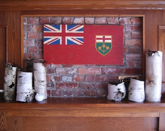 Ontario Wood Flag, Distressed, Decorative and in a Variety of Sizes!