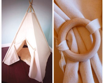 Large Canvas Teepee WITH poles, Natural teepee, Kids play tent, kids teepee tent, Playhouse, Nursery decor, bamboo poles, pet tent,