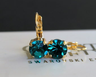 Shiny Silver/Antique Silver/Antique Brass/Gold Plated Leverback Earrings made with Blue Zircon Swarovski Crystal Elements by Lady C