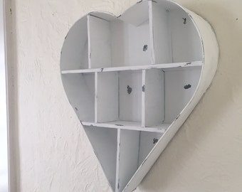Large 21.75 inch tall heart metal shelf, white distressed
