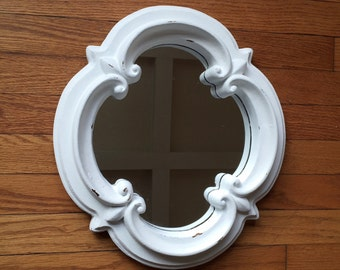 Mirror, white distressed, chunky, Fleur de lis, accent wall hanging