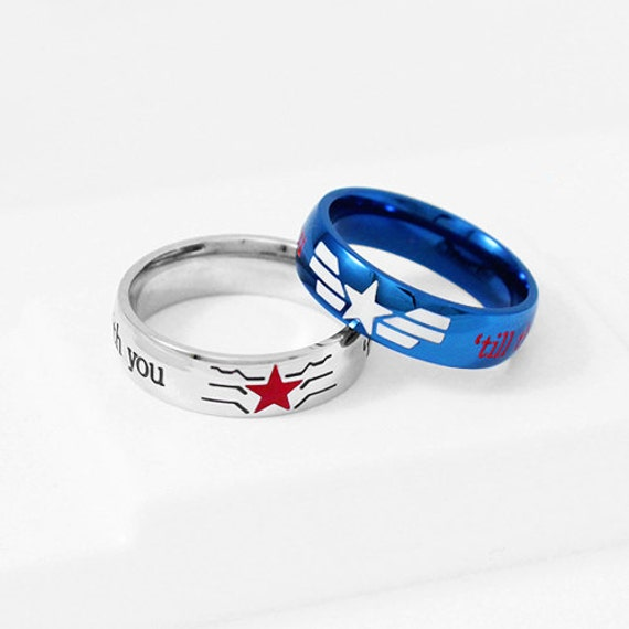 captain america wedding ring stucky ring winter soldier captain america stainless steel 2441