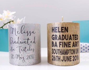 Graduation Candle Gift - Graduation Candle - Graduation Gift - Personalised Candle - Congratulations gift - Metallic Candle