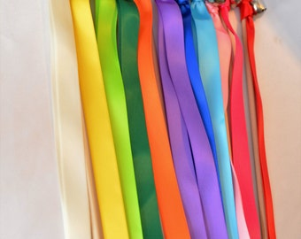 100 Rainbow Wedding Wand Ribbon Bell Streamers V2 ~ Send off Bells ~  Colorful ~ Kissing Bells ~ Gay Pride