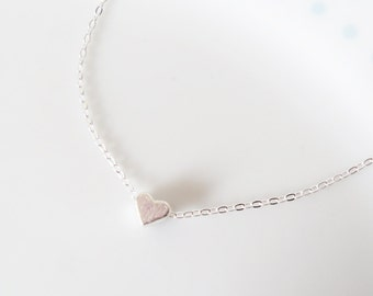 Cute Tiny Heart Charm Chain Silver Necklace, Dainty, Pretty, Layer, Love, Simple, Minimalist