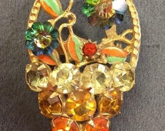 Pretty and Colorful Rhinestone Flower Basket Brooch with Rivoli Stones-Free shipping