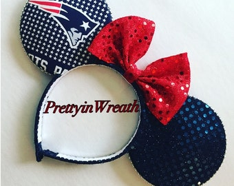 New England Patriots inspired Mickey Mouse ears headband