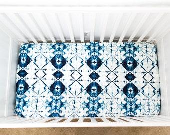 Indigo crystal fitted crib sheet