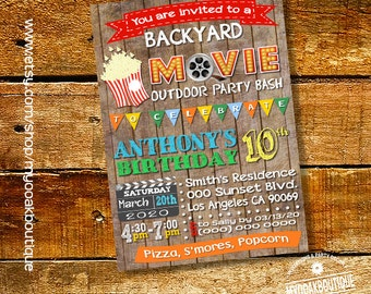 Movie party invitation birthday bash invite outdoor movie wood digital printable invitation you print invite 14242