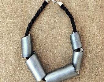Woman Statement necklace - silver - hand crafted - metal effect - bicolor - polymer clay metal effect