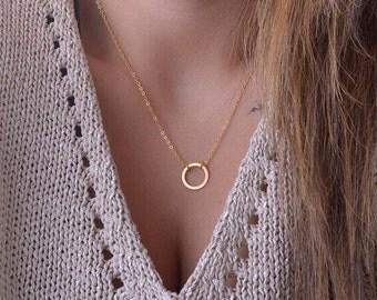 Minimalist Circle Necklace, Circle Necklace, Gold Necklace, Fashion Necklace, Fashionable Necklace