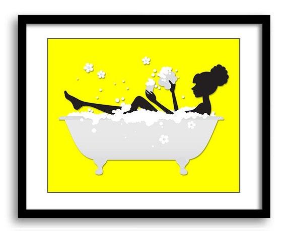 Bright yellow grey bathroom decor bathroom print black for Bright yellow bathroom accessories