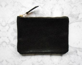 Everyday make-up bag - BLACK STRUCTURE - Zipper pouch - Leather make-up bag - Leather cosmetic bag - Leather clutch